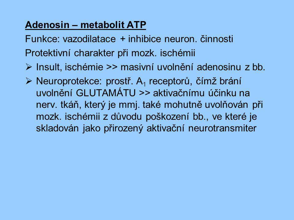 Adenosin – metabolit ATP Funkce: vazodilatace + inhibice neuron. činnosti Protektivní charakter při mozk. ischémii  Insult, ischémie >> masivní uvoln