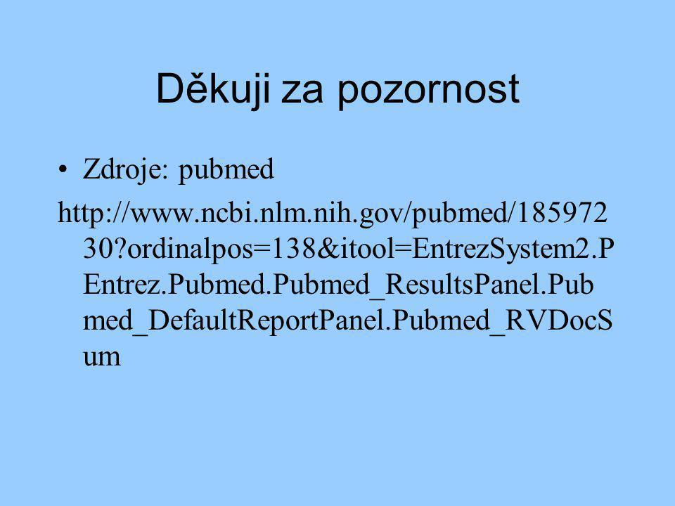 Děkuji za pozornost Zdroje: pubmed http://www.ncbi.nlm.nih.gov/pubmed/185972 30 ordinalpos=138&itool=EntrezSystem2.P Entrez.Pubmed.Pubmed_ResultsPanel.Pub med_DefaultReportPanel.Pubmed_RVDocS um