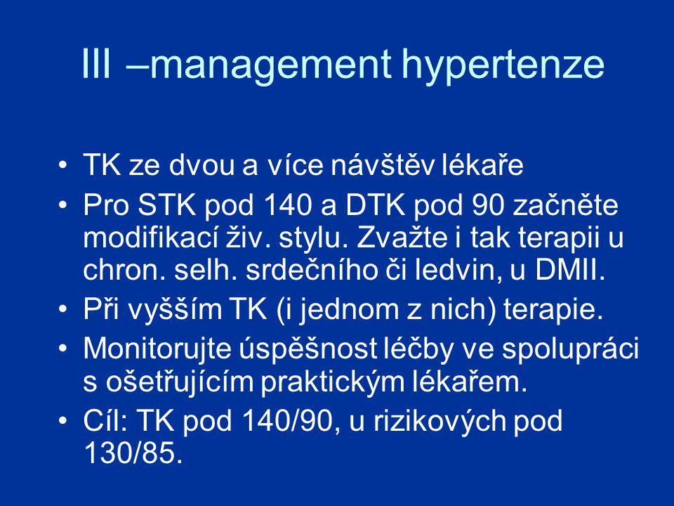 III –management hypertenze TK ze dvou a více návštěv lékaře Pro STK pod 140 a DTK pod 90 začněte modifikací živ.