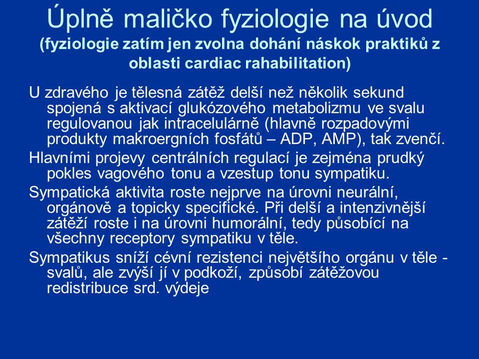 Úplně maličko fyziologie na úvod (fyziologie zatím jen zvolna dohání náskok praktiků z oblasti cardiac rahabilitation) U zdravého je tělesná zátěž delší než několik sekund spojená s aktivací glukózového metabolizmu ve svalu regulovanou jak intracelulárně (hlavně rozpadovými produkty makroergních fosfátů – ADP, AMP), tak zvenčí.