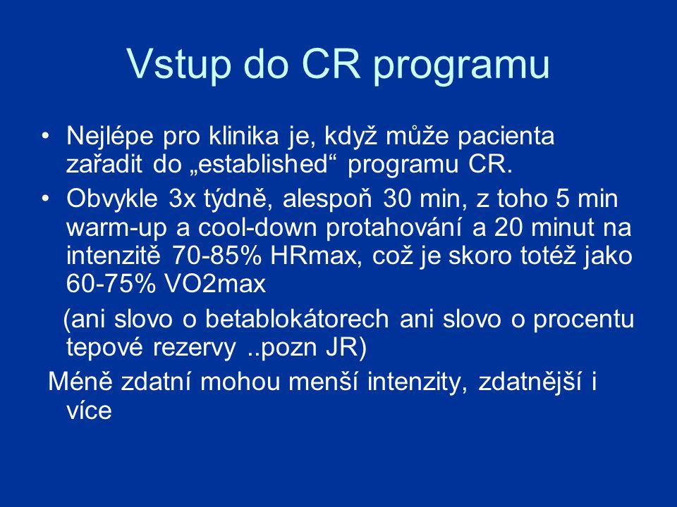 """Vstup do CR programu Nejlépe pro klinika je, když může pacienta zařadit do """"established programu CR."""