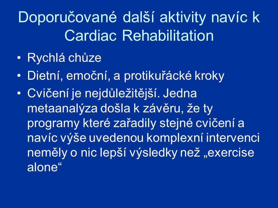Doporučované další aktivity navíc k Cardiac Rehabilitation Rychlá chůze Dietní, emoční, a protikuřácké kroky Cvičení je nejdůležitější.