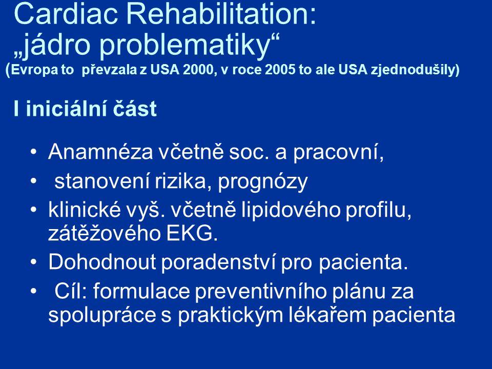 """Cardiac Rehabilitation: """"jádro problematiky ( Evropa to převzala z USA 2000, v roce 2005 to ale USA zjednodušily) I iniciální část Anamnéza včetně soc."""