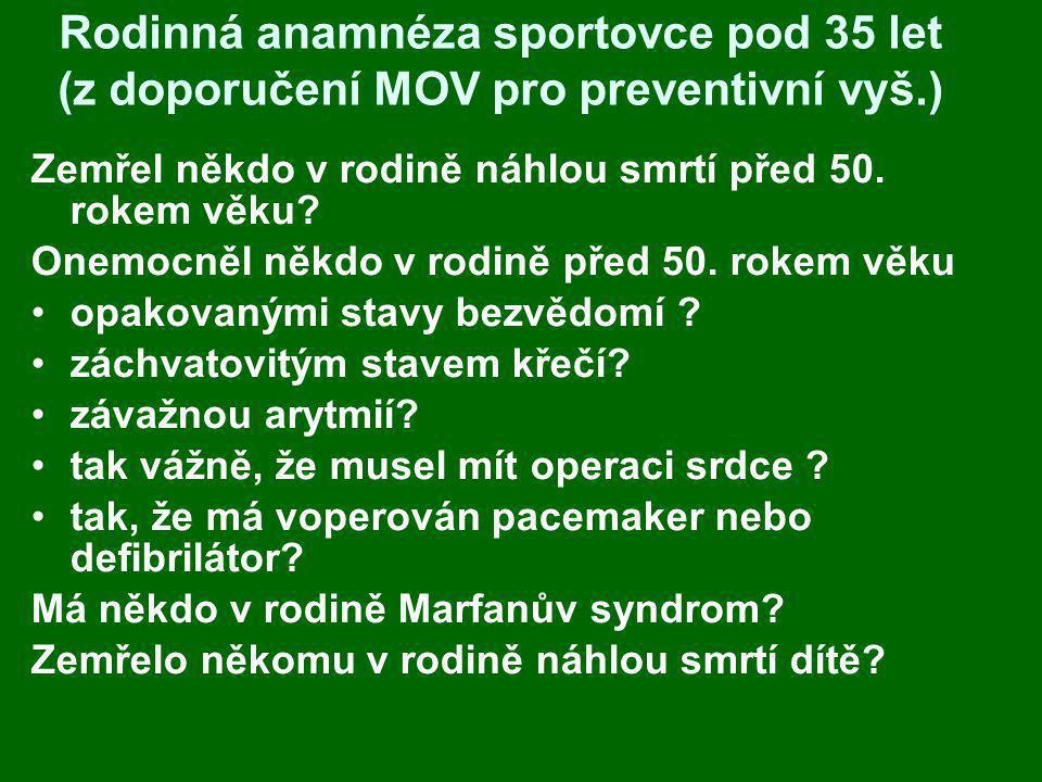 Rodinná anamnéza sportovce pod 35 let (z doporučení MOV pro preventivní vyš.) Zemřel někdo v rodině náhlou smrtí před 50. rokem věku? Onemocněl někdo