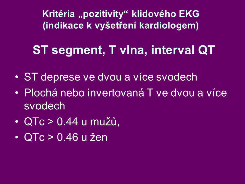 """Kritéria """"pozitivity"""" klidového EKG (indikace k vyšetření kardiologem) ST segment, T vlna, interval QT ST deprese ve dvou a více svodech Plochá nebo i"""