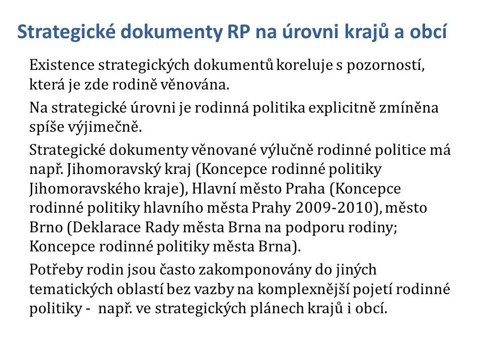 Strategické dokumenty RP na úrovni krajů a obcí Existence strategických dokumentů koreluje s pozorností, která je zde rodině věnována.