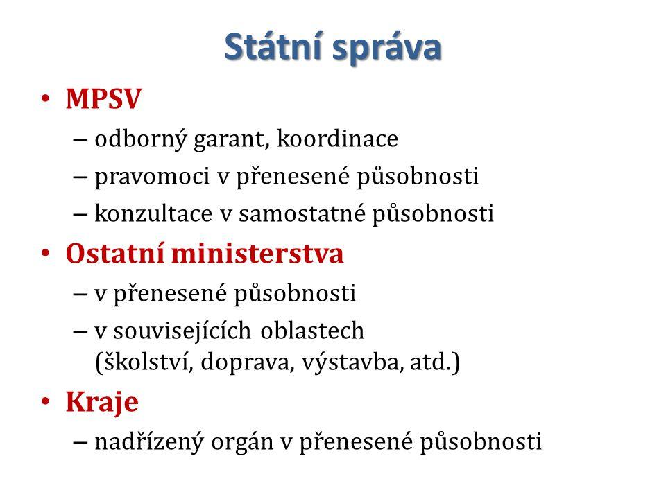 Státní správa MPSV – odborný garant, koordinace – pravomoci v přenesené působnosti – konzultace v samostatné působnosti Ostatní ministerstva – v přenesené působnosti – v souvisejících oblastech (školství, doprava, výstavba, atd.) Kraje – nadřízený orgán v přenesené působnosti 16