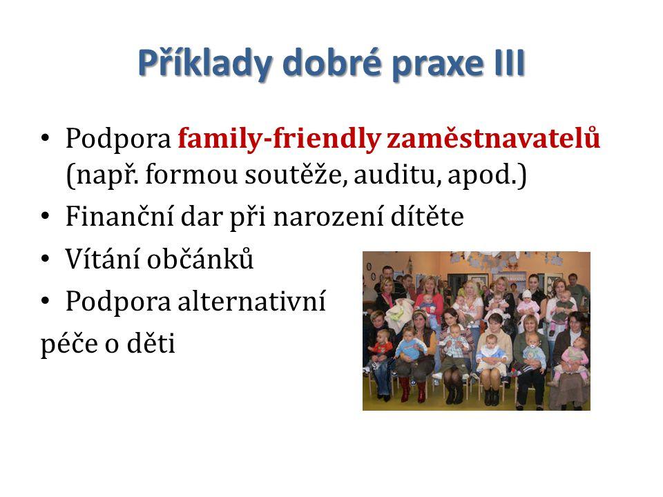 Příklady dobré praxe III Podpora family-friendly zaměstnavatelů (např.