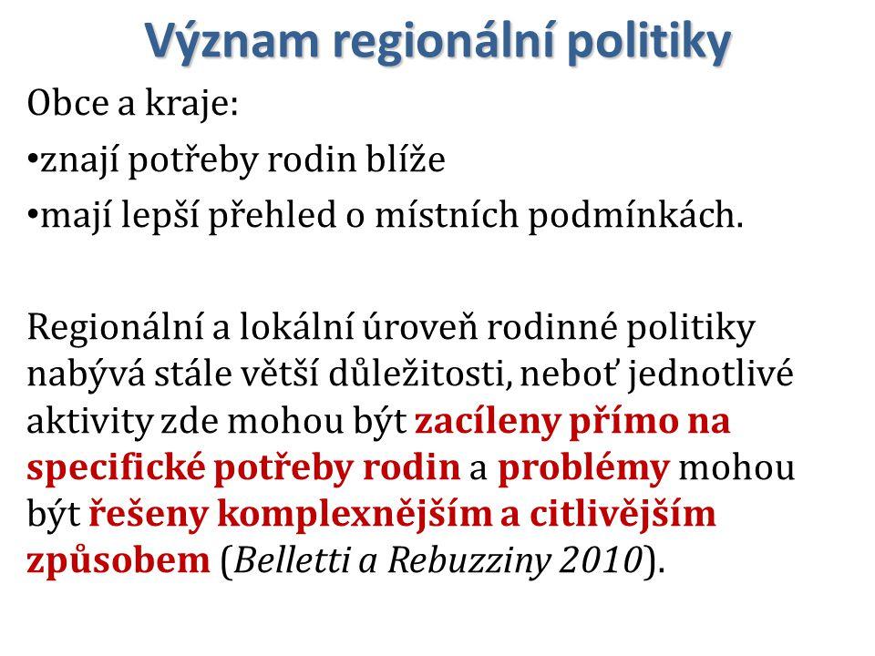 Význam regionální politiky Obce a kraje: znají potřeby rodin blíže mají lepší přehled o místních podmínkách.