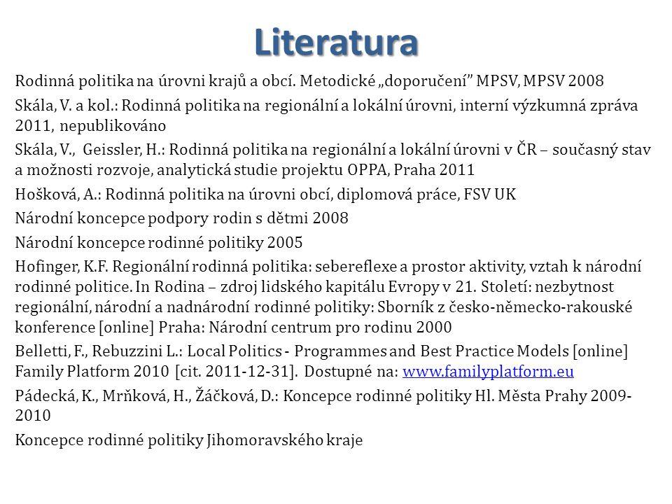 Literatura Rodinná politika na úrovni krajů a obcí.