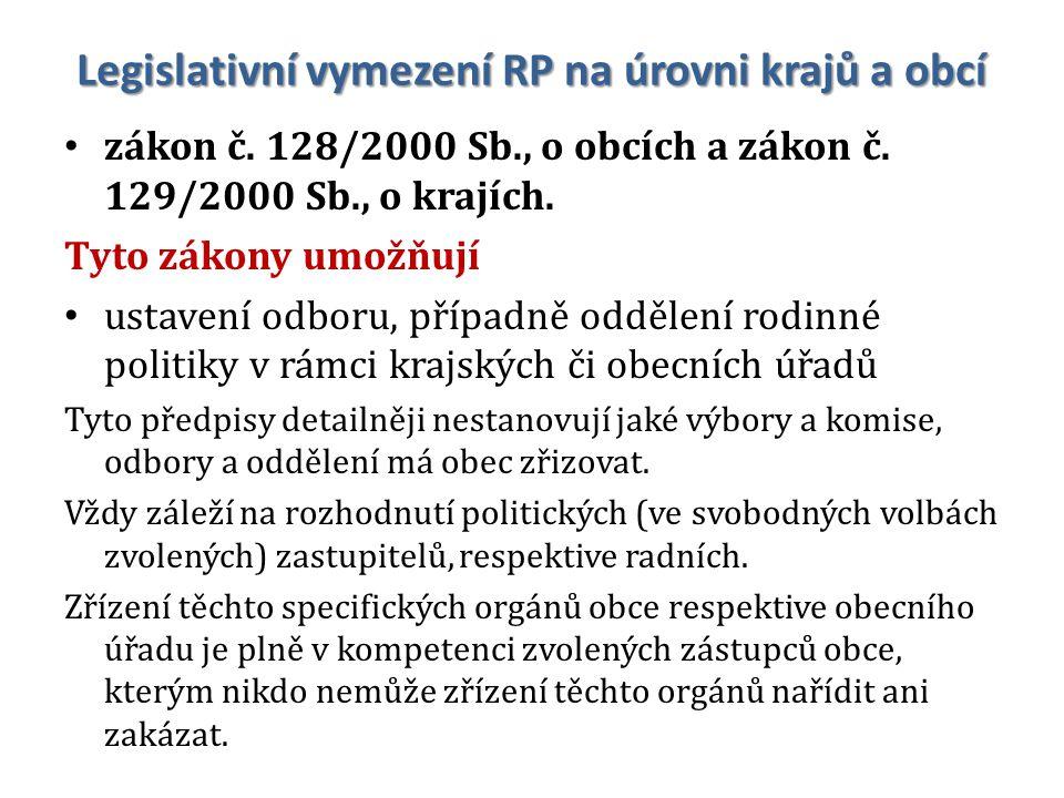 Legislativní vymezení RP na úrovni krajů a obcí zákon č.