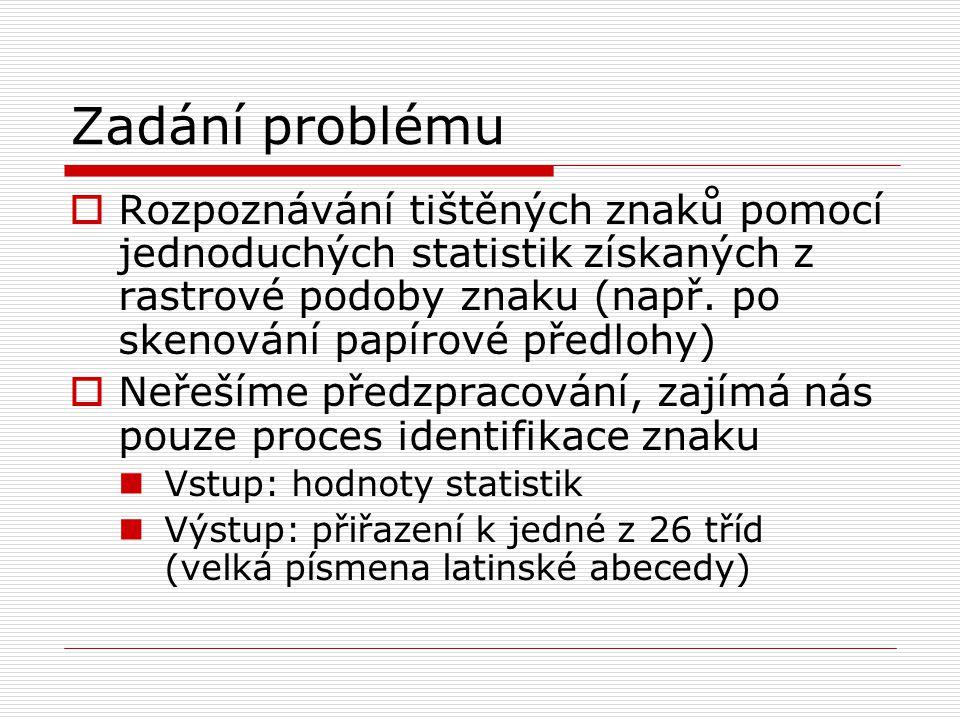 Zadání problému  Rozpoznávání tištěných znaků pomocí jednoduchých statistik získaných z rastrové podoby znaku (např.