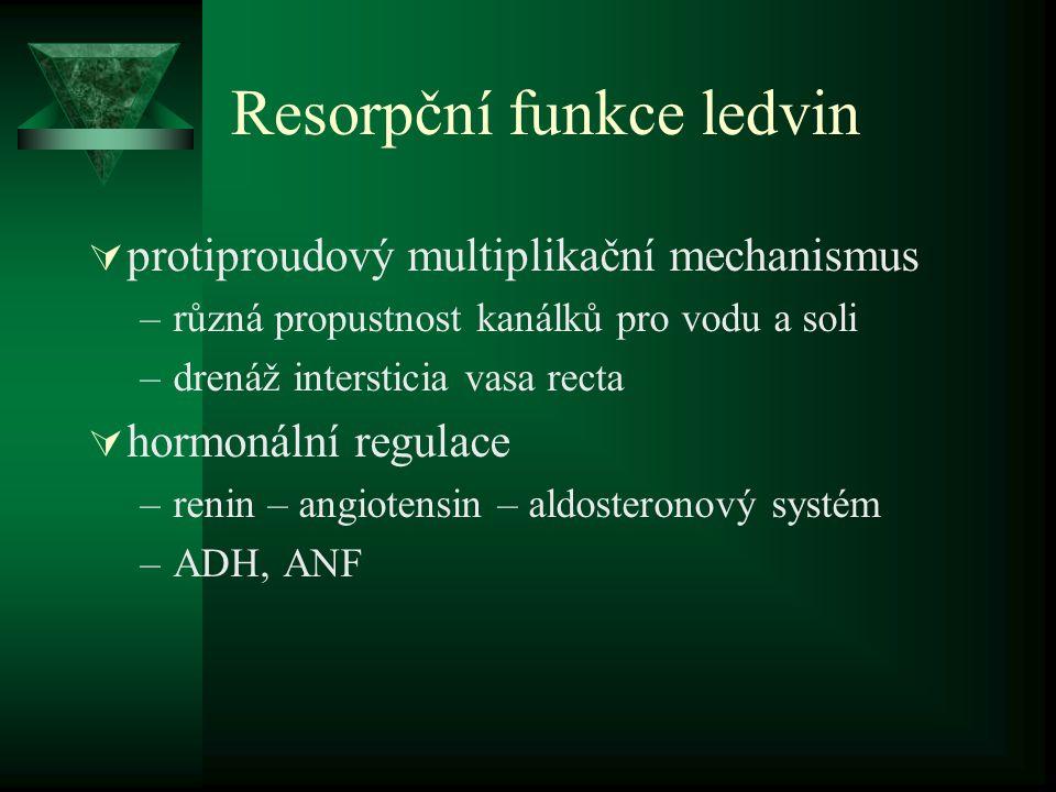 Resorpční funkce ledvin  protiproudový multiplikační mechanismus –různá propustnost kanálků pro vodu a soli –drenáž intersticia vasa recta  hormonální regulace –renin – angiotensin – aldosteronový systém –ADH, ANF