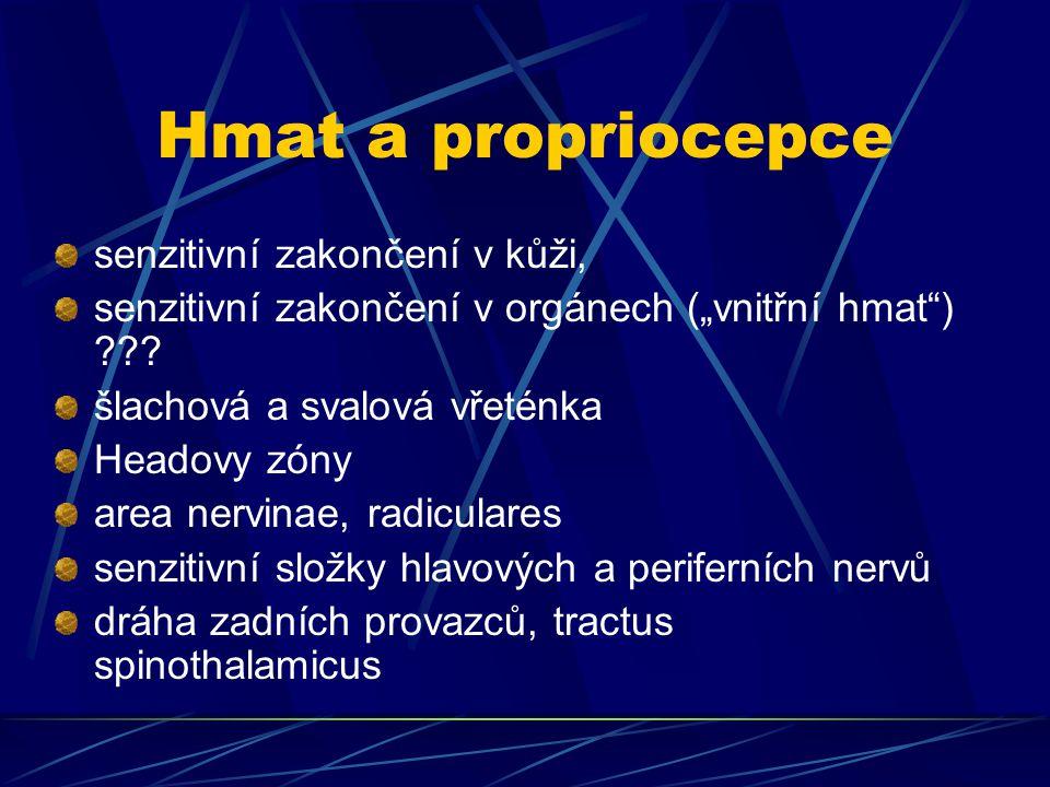 """Hmat a propriocepce senzitivní zakončení v kůži, senzitivní zakončení v orgánech (""""vnitřní hmat"""") ??? šlachová a svalová vřeténka Headovy zóny area ne"""