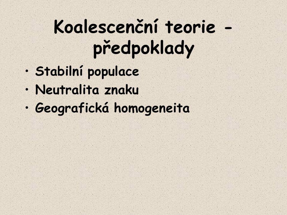 Koalescenční teorie - předpoklady Stabilní populace Neutralita znaku Geografická homogeneita