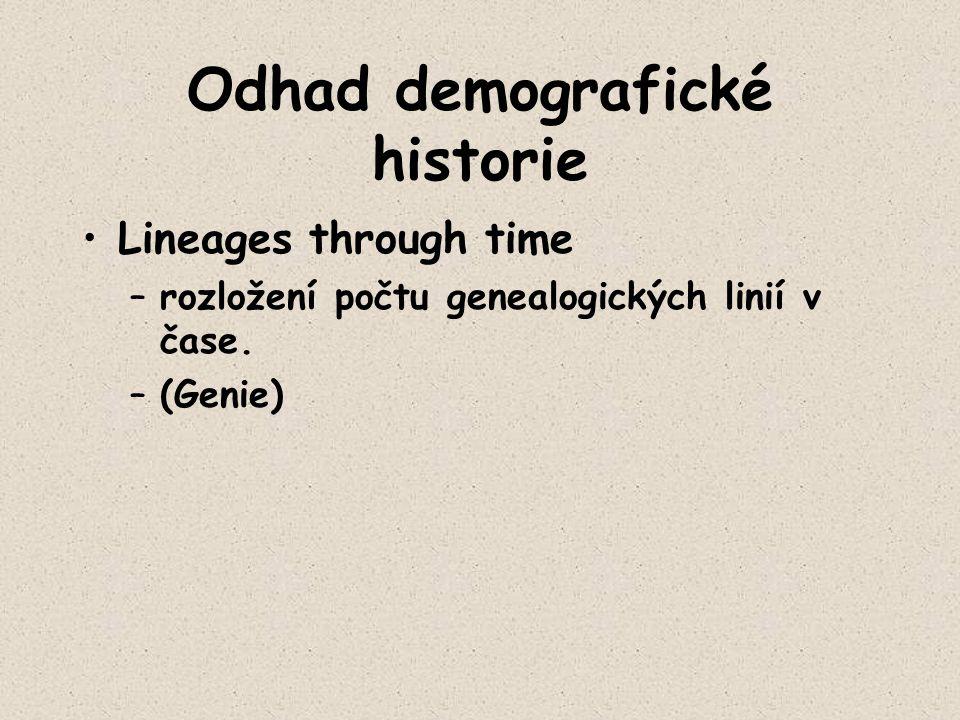 Odhad demografické historie Lineages through time –rozložení počtu genealogických linií v čase. –(Genie)