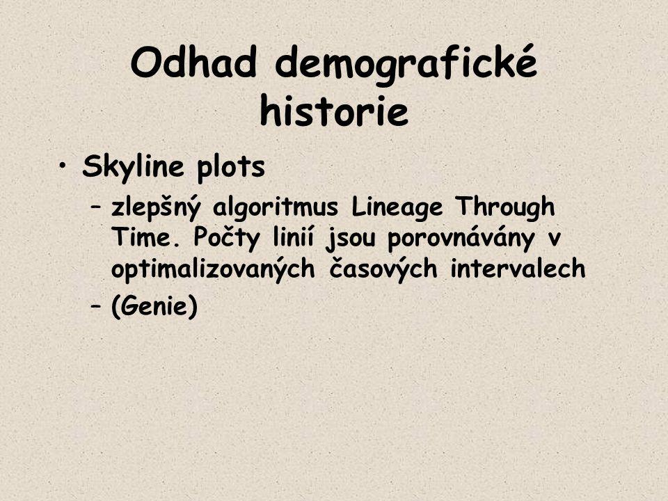 Odhad demografické historie Skyline plots –zlepšný algoritmus Lineage Through Time. Počty linií jsou porovnávány v optimalizovaných časových intervale