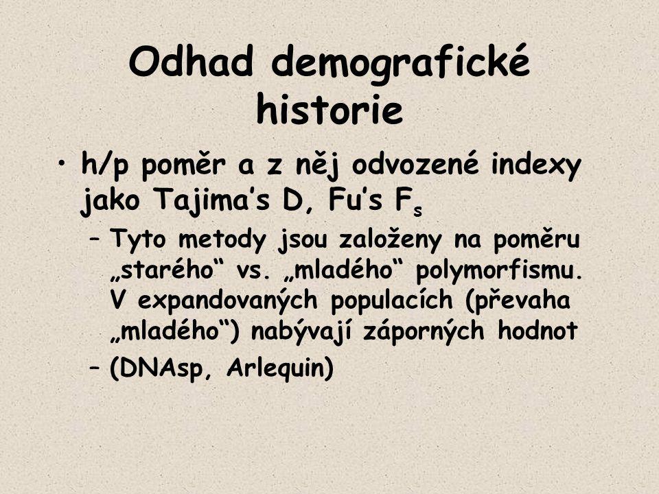 """Odhad demografické historie h/p poměr a z něj odvozené indexy jako Tajima's D, Fu's F s –Tyto metody jsou založeny na poměru """"starého"""" vs. """"mladého"""" p"""