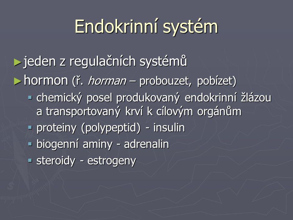Endokrinní systém ► jeden z regulačních systémů ► hormon (ř. horman – probouzet, pobízet)  chemický posel produkovaný endokrinní žlázou a transportov
