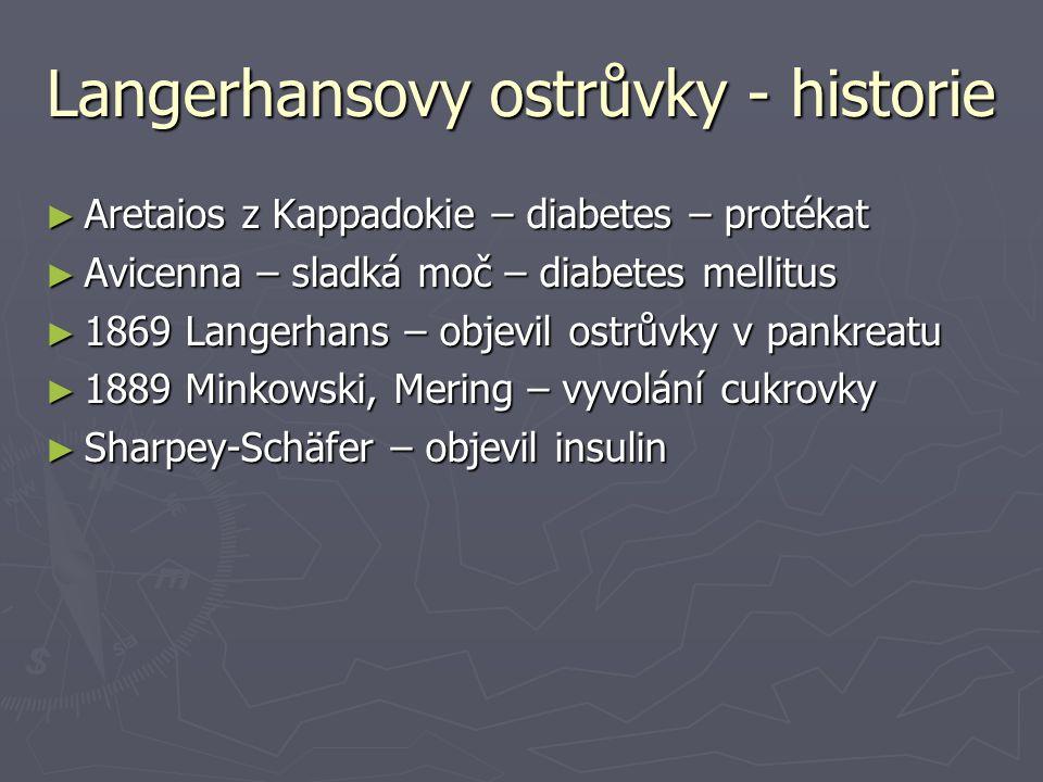 Langerhansovy ostrůvky - historie ► Aretaios z Kappadokie – diabetes – protékat ► Avicenna – sladká moč – diabetes mellitus ► 1869 Langerhans – objevi