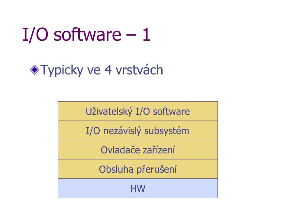I/O software – 1 Typicky ve 4 vrstvách HW Obsluha přerušení Ovladače zařízení I/O nezávislý subsystém Uživatelský I/O software