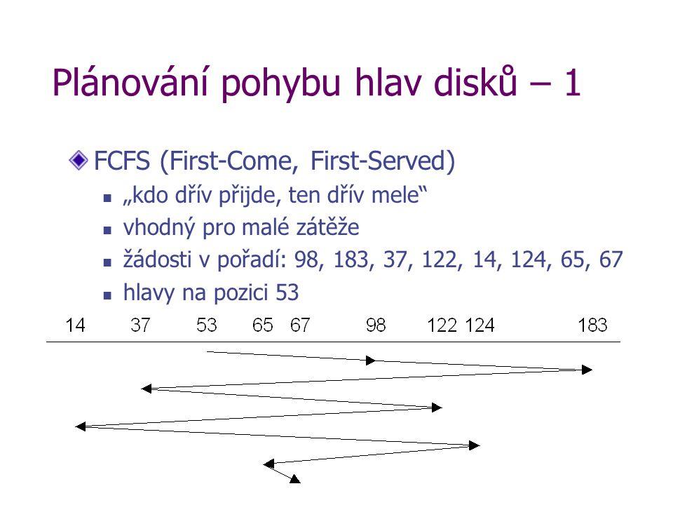 """Plánování pohybu hlav disků – 1 FCFS (First-Come, First-Served) """"kdo dřív přijde, ten dřív mele vhodný pro malé zátěže žádosti v pořadí: 98, 183, 37, 122, 14, 124, 65, 67 hlavy na pozici 53"""