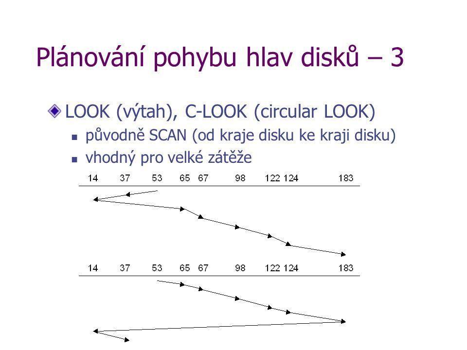 Plánování pohybu hlav disků – 3 LOOK (výtah), C-LOOK (circular LOOK) původně SCAN (od kraje disku ke kraji disku) vhodný pro velké zátěže