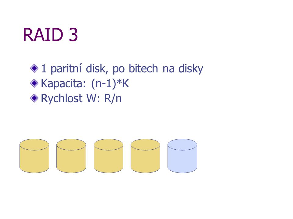 RAID 3 1 paritní disk, po bitech na disky Kapacita: (n-1)*K Rychlost W: R/n
