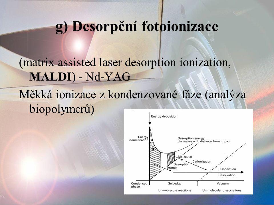 g) Desorpční fotoionizace (matrix assisted laser desorption ionization, MALDI) - Nd-YAG Měkká ionizace z kondenzované fáze (analýza biopolymerů)