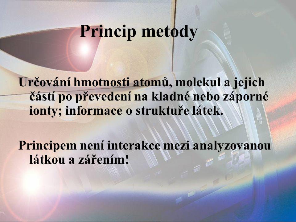 Určování hmotnosti atomů, molekul a jejich částí po převedení na kladné nebo záporné ionty; informace o struktuře látek. Principem není interakce mezi