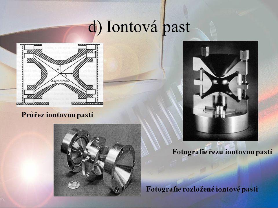 d) Iontová past Fotografie řezu iontovou pastí Fotografie rozložené iontové pasti Průřez iontovou pastí