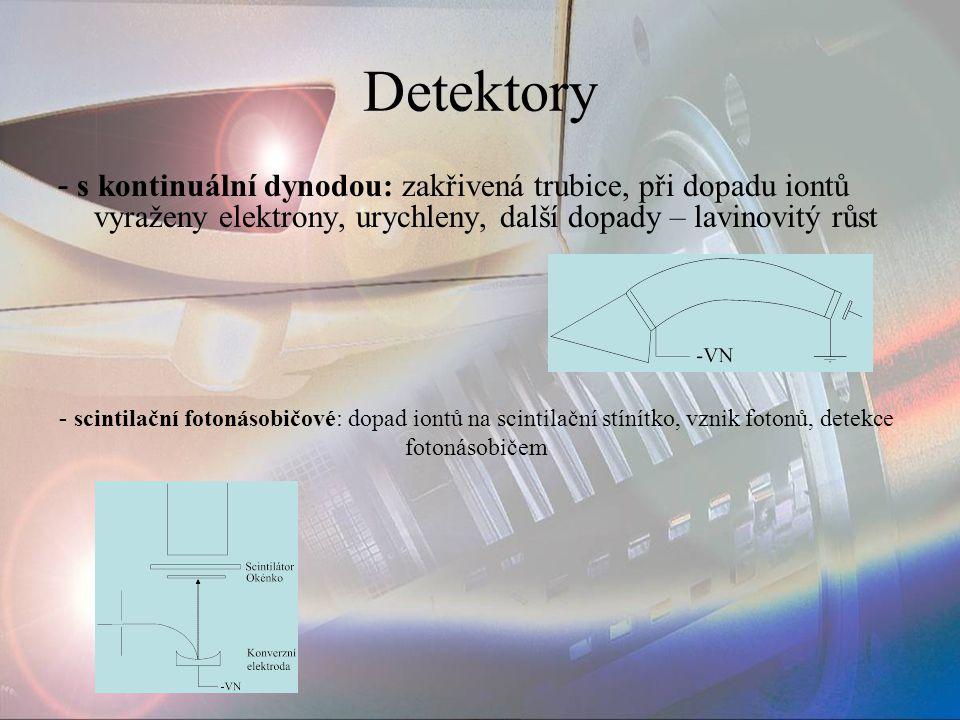 Detektory - s kontinuální dynodou: zakřivená trubice, při dopadu iontů vyraženy elektrony, urychleny, další dopady – lavinovitý růst - scintilační fot