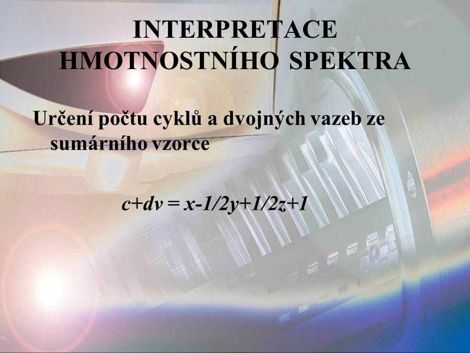 INTERPRETACE HMOTNOSTNÍHO SPEKTRA Určení počtu cyklů a dvojných vazeb ze sumárního vzorce c+dv = x-1/2y+1/2z+1