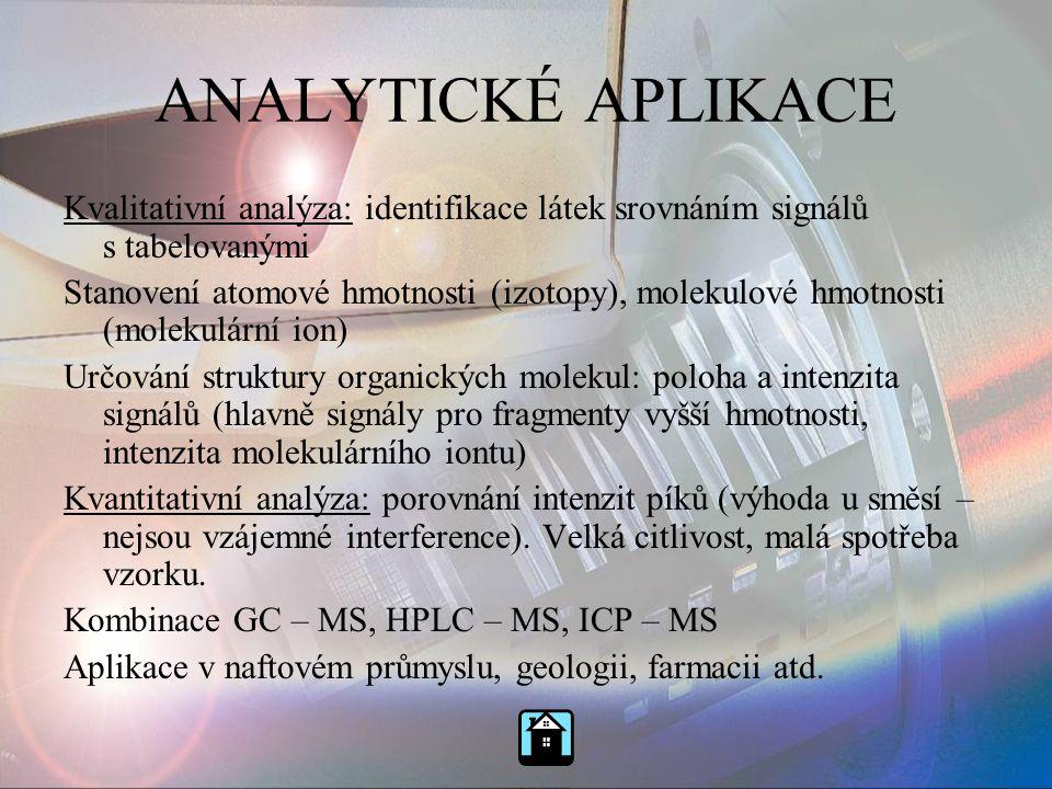 ANALYTICKÉ APLIKACE Kvalitativní analýza: identifikace látek srovnáním signálů s tabelovanými Stanovení atomové hmotnosti (izotopy), molekulové hmotno