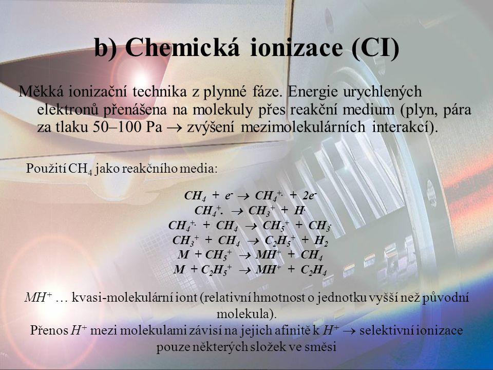 b) Chemická ionizace (CI) Měkká ionizační technika z plynné fáze. Energie urychlených elektronů přenášena na molekuly přes reakční medium (plyn, pára