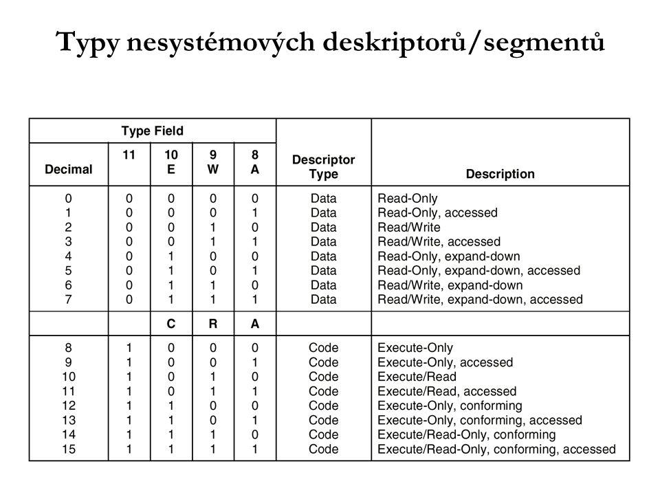 Typy nesystémových deskriptorů/segmentů