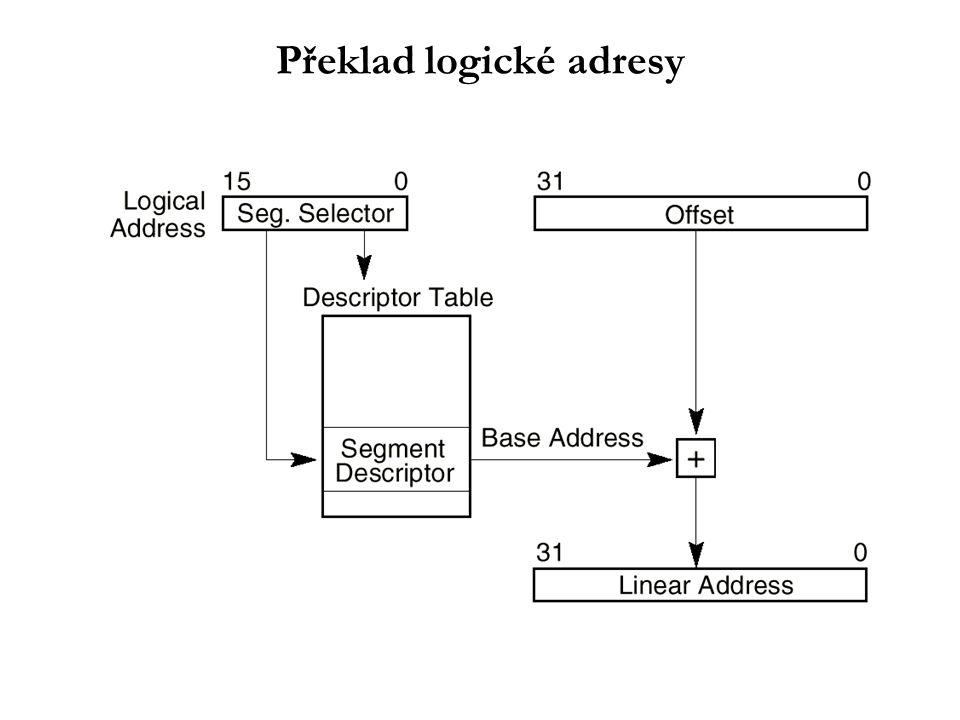 Ochrana dat na úrovni segmentace Datová reference na segment: – Prioritní test : EPL  DPL EPL = max( CPL, RPL ) Vyhodnocování oprávněnosti přístupu - dvě fáze: –Během plnění segmentového registru: Prioritní test Základní typová kontrola –Během přístupu do paměti: Zbývající typové kontroly Kontrola velikosti offsetu