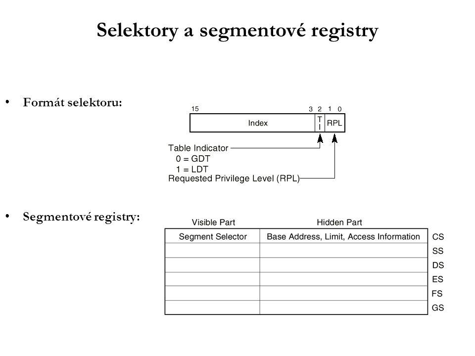 Selektory a segmentové registry Formát selektoru: Segmentové registry: