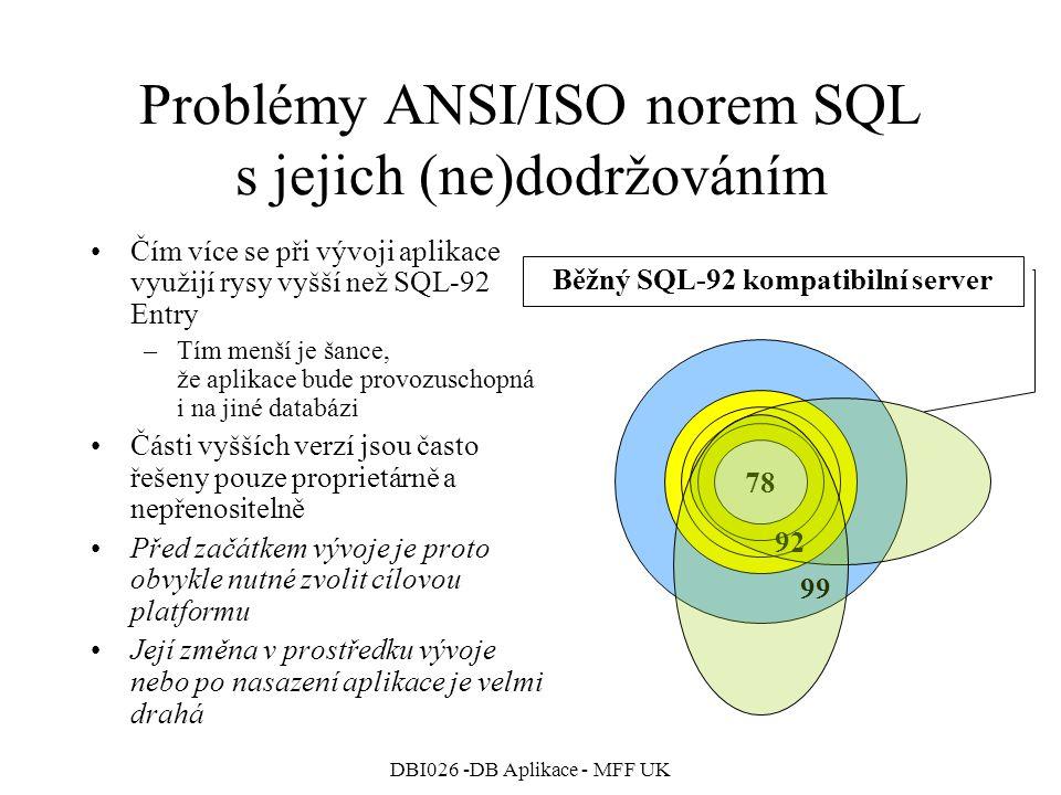 DBI026 -DB Aplikace - MFF UK Problémy ANSI/ISO norem SQL s jejich (ne)dodržováním Čím více se při vývoji aplikace využijí rysy vyšší než SQL-92 Entry –Tím menší je šance, že aplikace bude provozuschopná i na jiné databázi Části vyšších verzí jsou často řešeny pouze proprietárně a nepřenositelně Před začátkem vývoje je proto obvykle nutné zvolit cílovou platformu Její změna v prostředku vývoje nebo po nasazení aplikace je velmi drahá 78 99 92 Běžný SQL-92 kompatibilní server