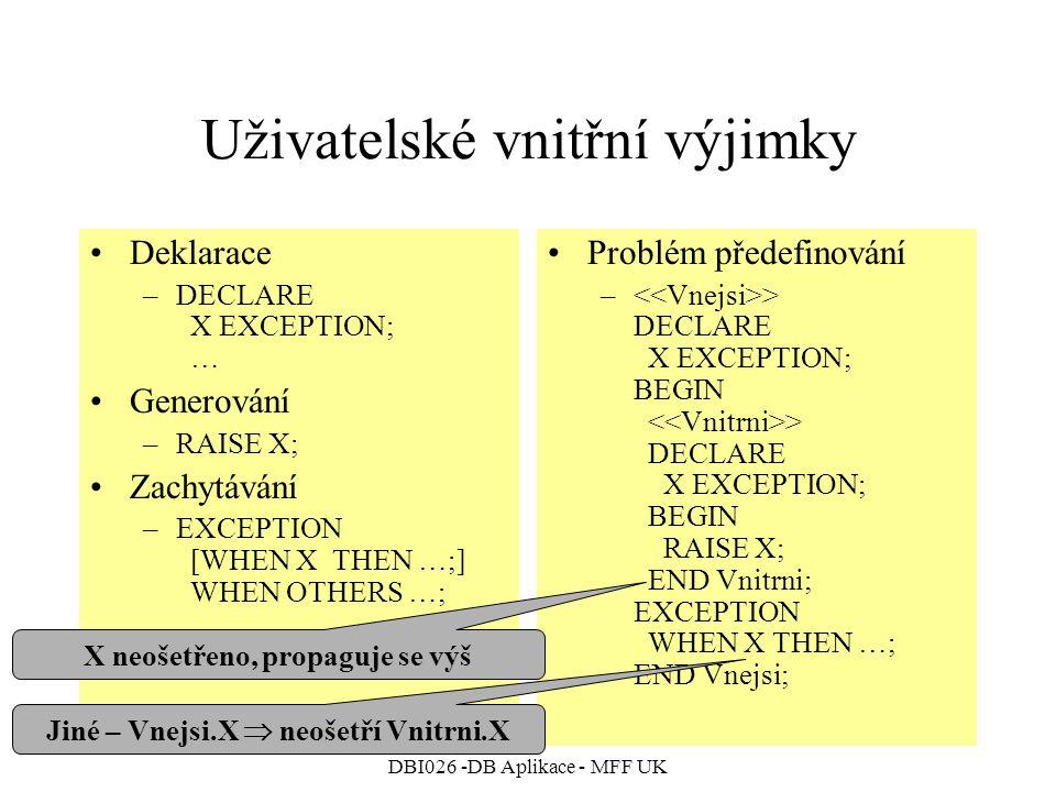 DBI026 -DB Aplikace - MFF UK Uživatelské vnitřní výjimky Deklarace –DECLARE X EXCEPTION; … Generování –RAISE X; Zachytávání –EXCEPTION [WHEN X THEN …;] WHEN OTHERS …; Problém předefinování – > DECLARE X EXCEPTION; BEGIN > DECLARE X EXCEPTION; BEGIN RAISE X; END Vnitrni; EXCEPTION WHEN X THEN …; END Vnejsi; Jiné – Vnejsi.X  neošetří Vnitrni.X X neošetřeno, propaguje se výš