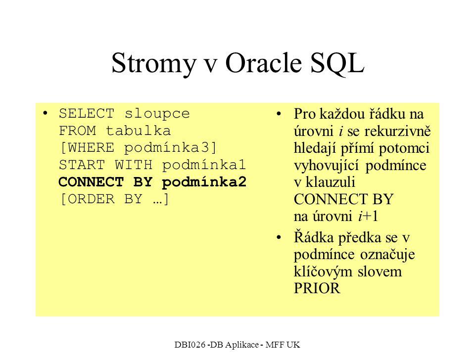 DBI026 -DB Aplikace - MFF UK Stromy v Oracle SQL SELECT sloupce FROM tabulka [WHERE podmínka3] START WITH podmínka1 CONNECT BY podmínka2 [ORDER BY …]