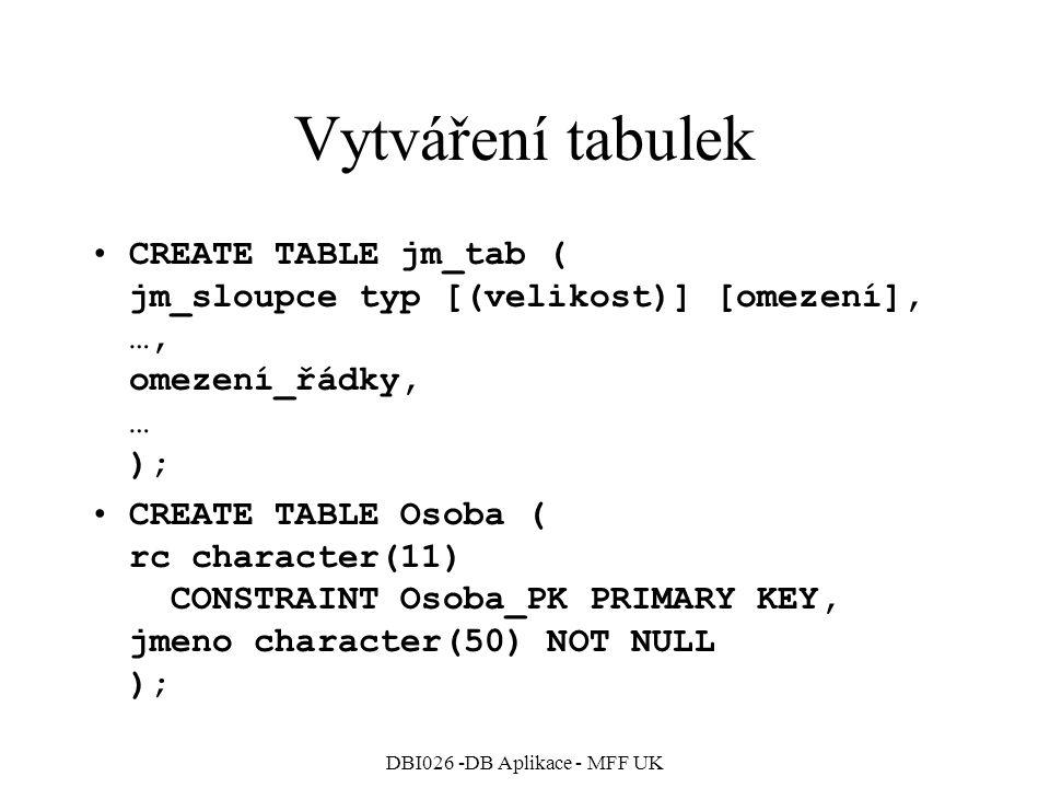 DBI026 -DB Aplikace - MFF UK Vytváření tabulek CREATE TABLE jm_tab ( jm_sloupce typ [(velikost)] [omezení], …, omezení_řádky, … ); CREATE TABLE Osoba ( rc character(11) CONSTRAINT Osoba_PK PRIMARY KEY, jmeno character(50) NOT NULL );