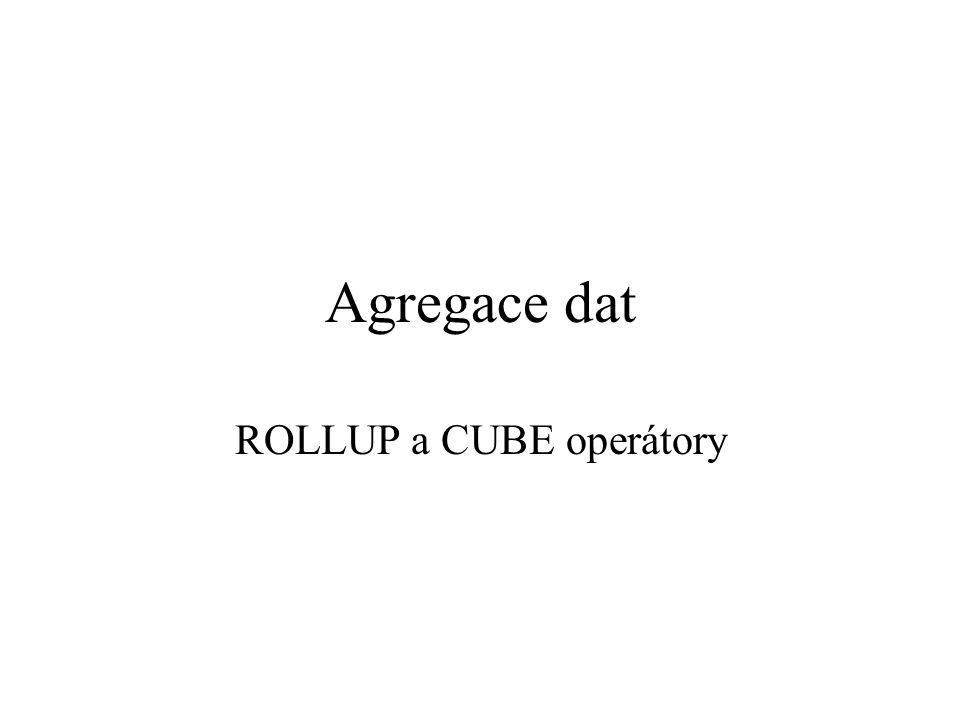 Agregace dat ROLLUP a CUBE operátory