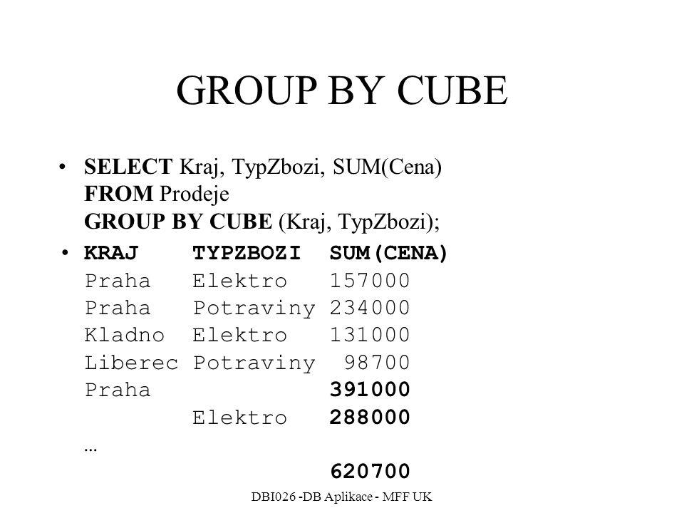 DBI026 -DB Aplikace - MFF UK GROUP BY CUBE SELECT Kraj, TypZbozi, SUM(Cena) FROM Prodeje GROUP BY CUBE (Kraj, TypZbozi); KRAJ TYPZBOZI SUM(CENA) Praha Elektro 157000 Praha Potraviny 234000 Kladno Elektro 131000 Liberec Potraviny 98700 Praha 391000 Elektro 288000 … 620700