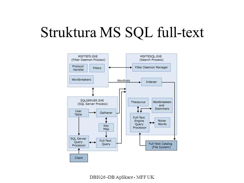 DBI026 -DB Aplikace - MFF UK Struktura MS SQL full-text