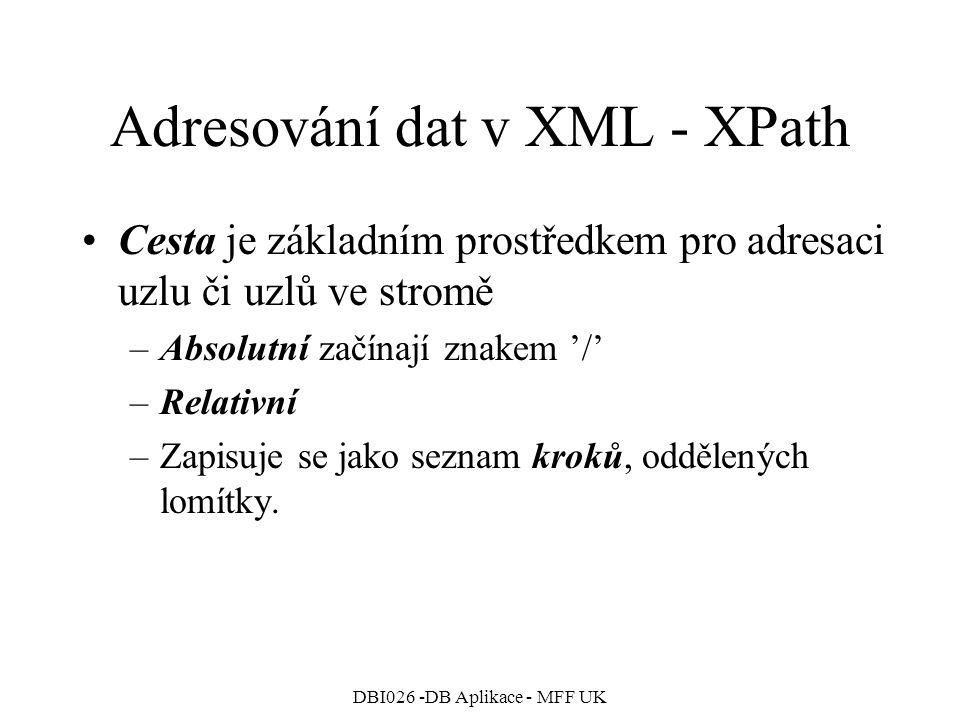 DBI026 -DB Aplikace - MFF UK Adresování dat v XML - XPath Cesta je základním prostředkem pro adresaci uzlu či uzlů ve stromě –Absolutní začínají znakem '/' –Relativní –Zapisuje se jako seznam kroků, oddělených lomítky.
