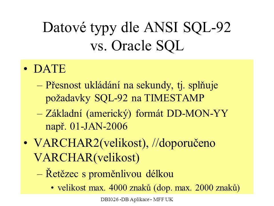 DBI026 -DB Aplikace - MFF UK Datové typy dle ANSI SQL-92 vs. Oracle SQL DATE –Přesnost ukládání na sekundy, tj. splňuje požadavky SQL-92 na TIMESTAMP