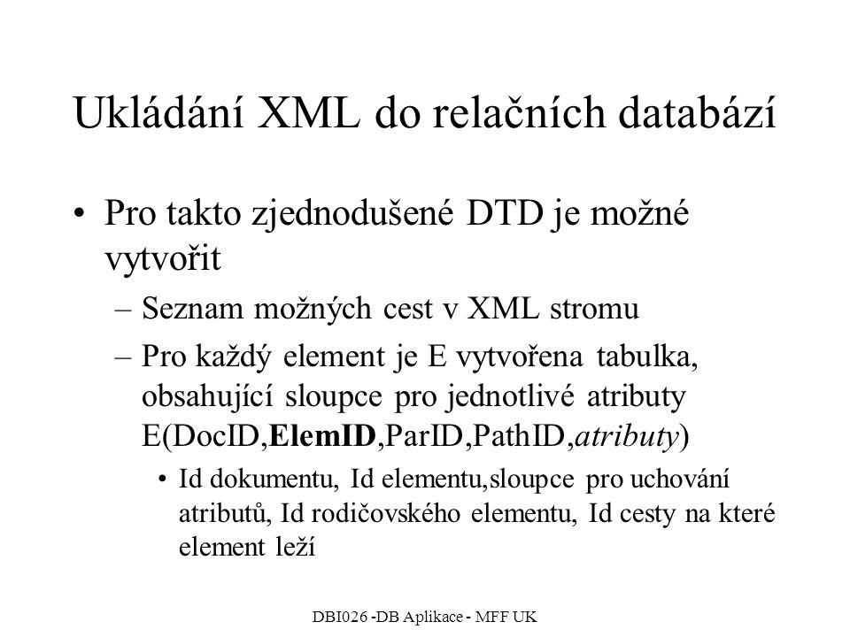 DBI026 -DB Aplikace - MFF UK Ukládání XML do relačních databází Pro takto zjednodušené DTD je možné vytvořit –Seznam možných cest v XML stromu –Pro každý element je E vytvořena tabulka, obsahující sloupce pro jednotlivé atributy E(DocID,ElemID,ParID,PathID,atributy) Id dokumentu, Id elementu,sloupce pro uchování atributů, Id rodičovského elementu, Id cesty na které element leží