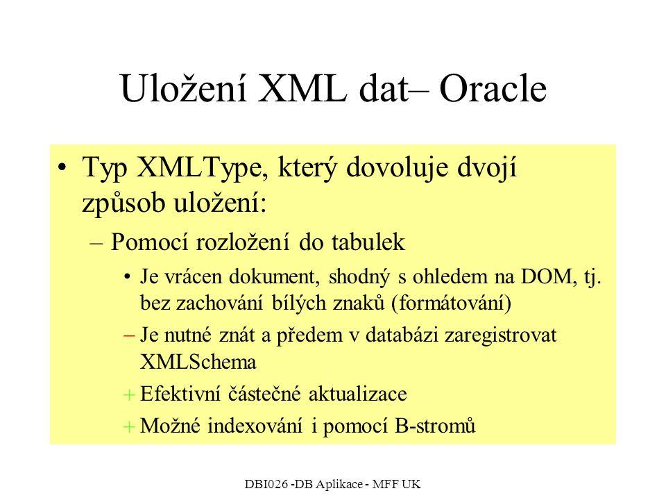 DBI026 -DB Aplikace - MFF UK Uložení XML dat– Oracle Typ XMLType, který dovoluje dvojí způsob uložení: –Pomocí rozložení do tabulek Je vrácen dokument, shodný s ohledem na DOM, tj.