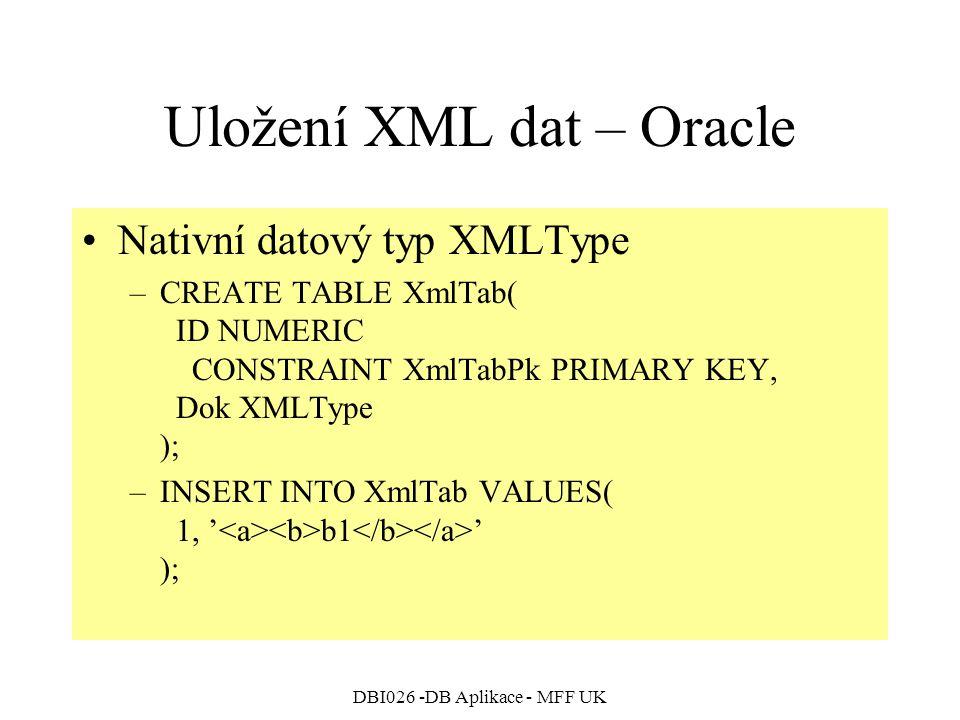 DBI026 -DB Aplikace - MFF UK Uložení XML dat – Oracle Nativní datový typ XMLType –CREATE TABLE XmlTab( ID NUMERIC CONSTRAINT XmlTabPk PRIMARY KEY, Dok XMLType ); –INSERT INTO XmlTab VALUES( 1, ' b1 ' );